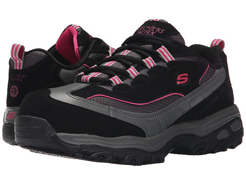 SKECHERS Work - D'Lite S R - Safety Toe (Black/Charcoal Leather/Mesh/Pink Trim) Women's Industrial Shoes
