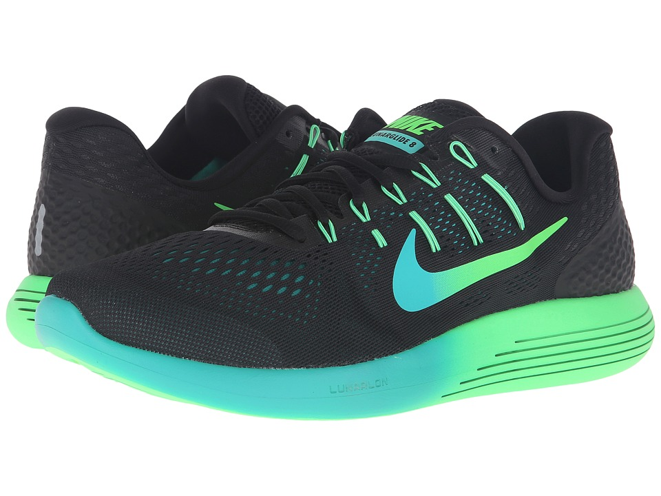 Nike - Lunarglide 8 (Black/Multicolor/Real Teal/Clear Jade) Men's Running Shoes