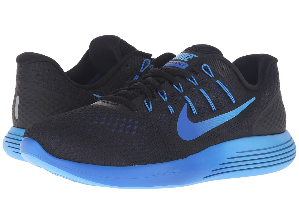 Nike - Lunarglide 8 (Black/Multicolor/Deep Royal Blue/Hyper Cobalt) Men's Running Shoes