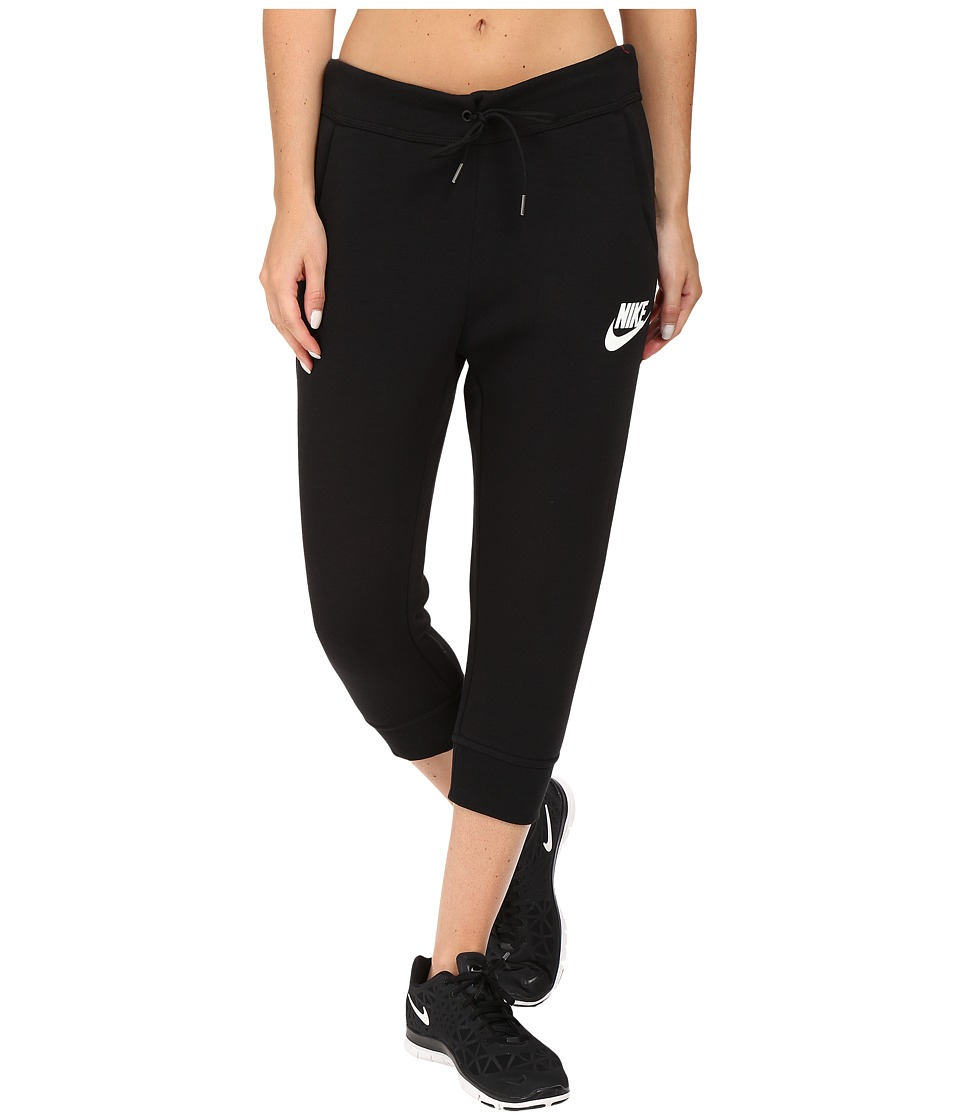 Nike - Rally Capri (Black/Black/Antique Silver/White) Women's Capri