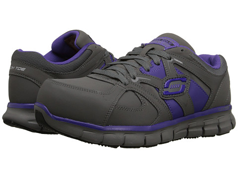 SKECHERS Work - Synergy - Sandlot (Gray/Purple) Women's Shoes