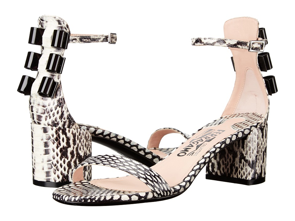 Salvatore Ferragamo - Edgardo Osorio Capsule - Connie (Nero/Bianco Cobra Skin) High Heels