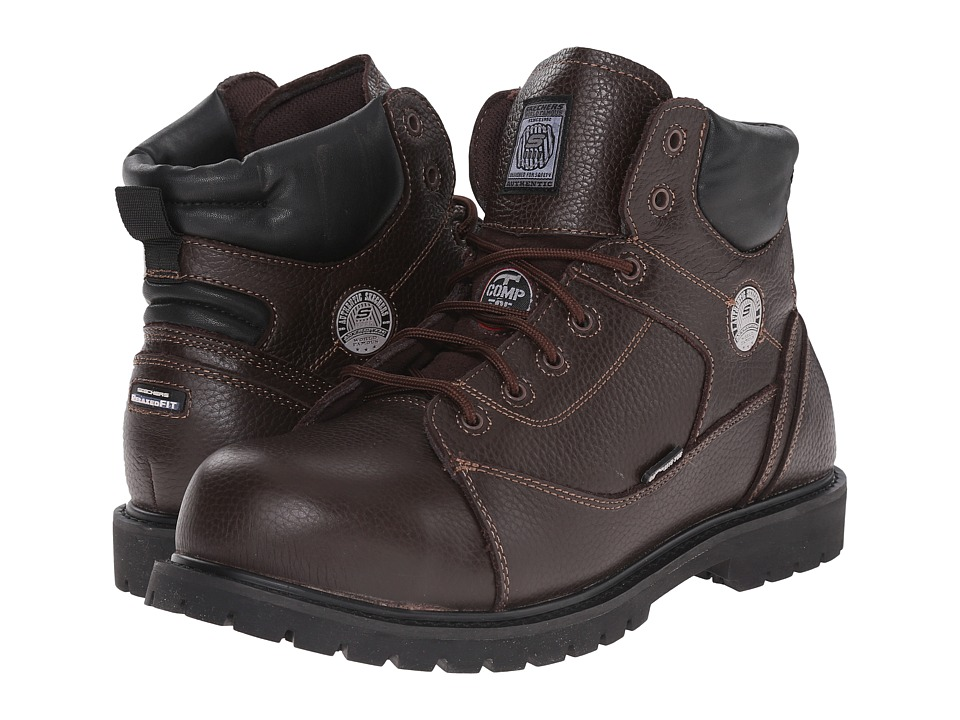 SKECHERS Work - Auger (Brown Embossed Leather) Men's Shoes