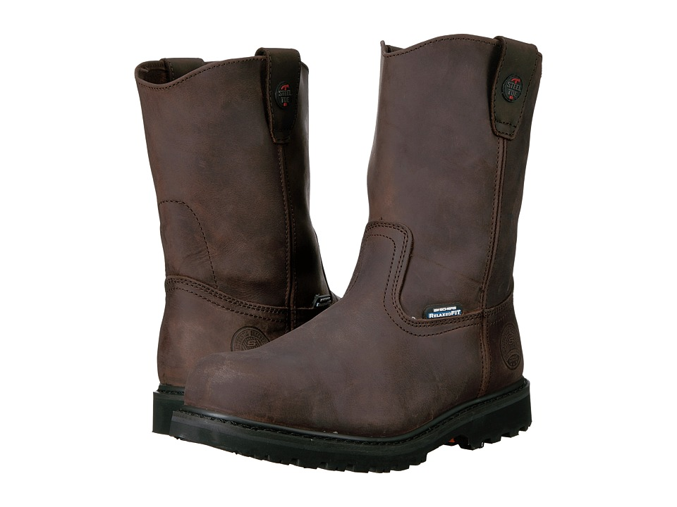 SKECHERS Work - Ruffneck (Crazy Horse Dark Brown Leather) Men's Work Pull-on Boots