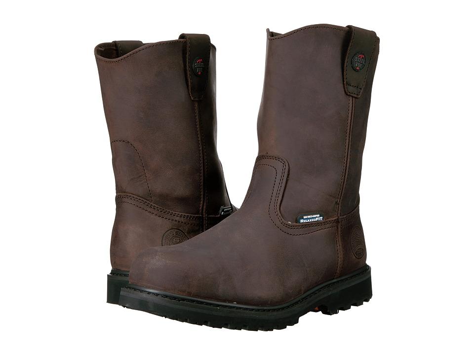 SKECHERS Work - Ruffneck (Crazy Horse Dark Brown Leather) Men's Work Pull-on Boots