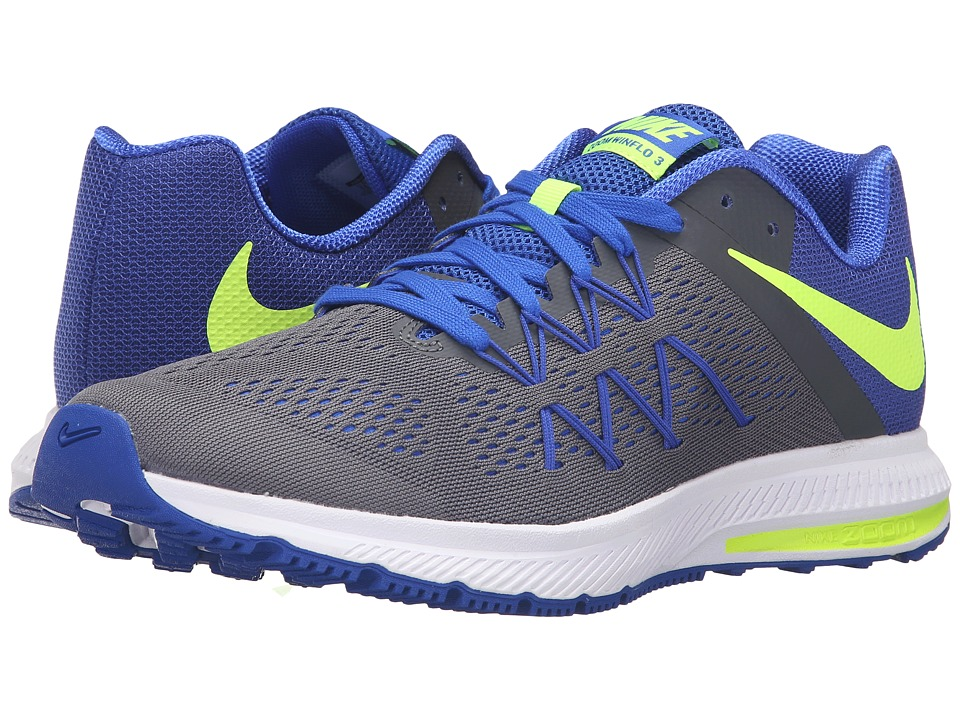 Nike - Zoom Winflo 3 (Dark Grey/Volt/Racer Blue/White) Men's Running Shoes