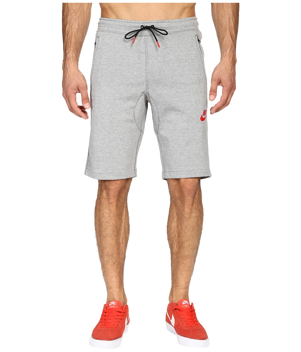 Nike - NSW AV15 Fleece Shorts (Dark Grey Heather/Black/University Red) Men's Shorts
