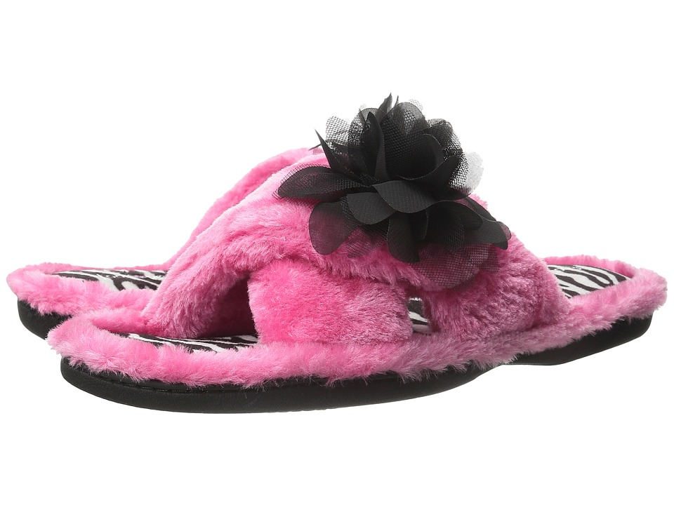 Foot Petals - Foot Petals Adjustable Slide with Flower (Pink/Zebra) Women's Slippers
