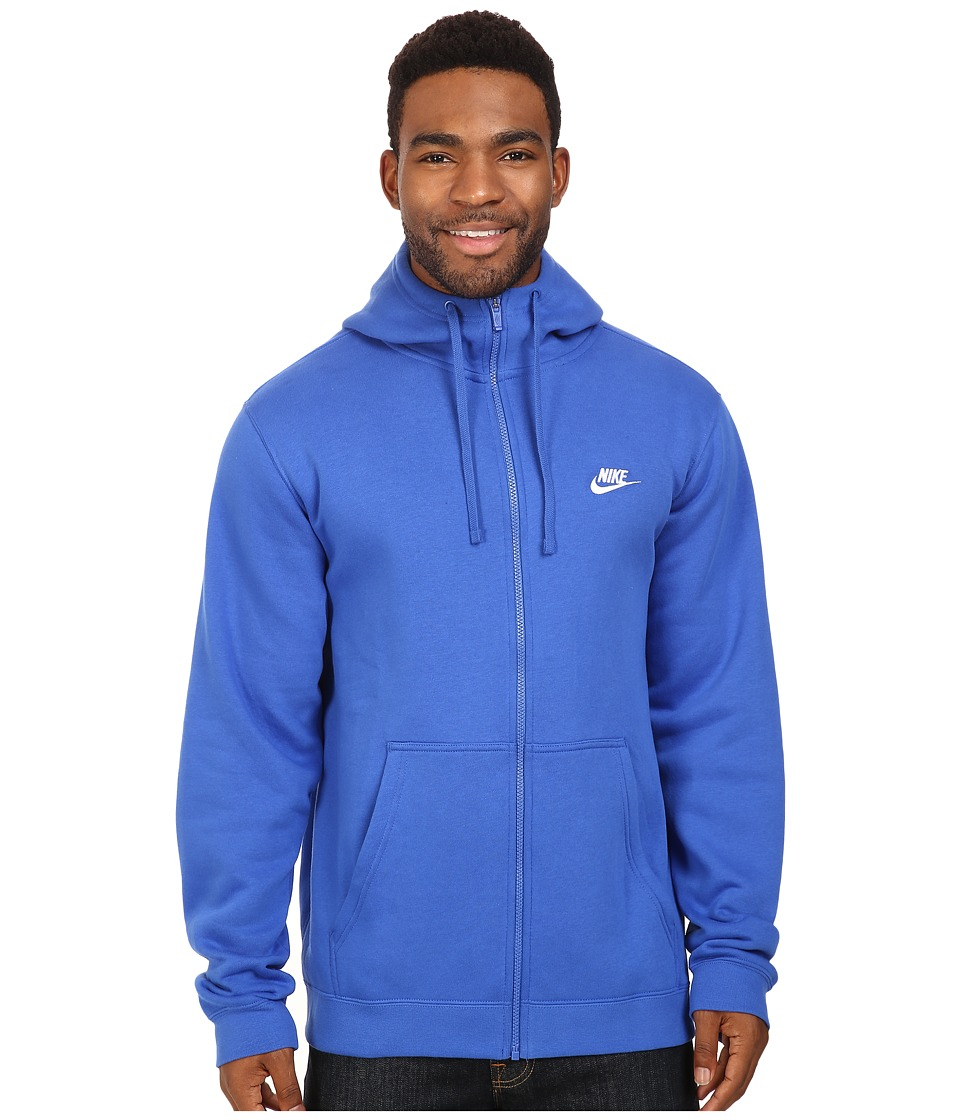 Nike - Club Fleece Full-Zip Hoodie (Game Royal/Game Royal/White) Men's Fleece