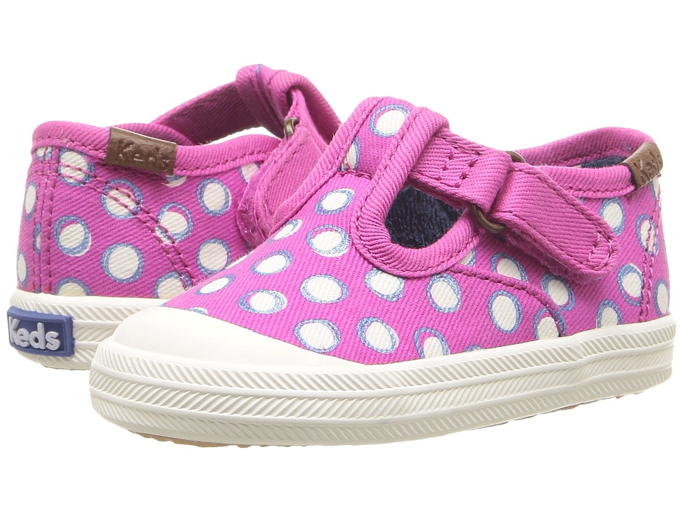 Keds Kids - Champion Toe Cap T-Strap (Infant/Toddler) (Fuchsia Dots) Girls Shoes