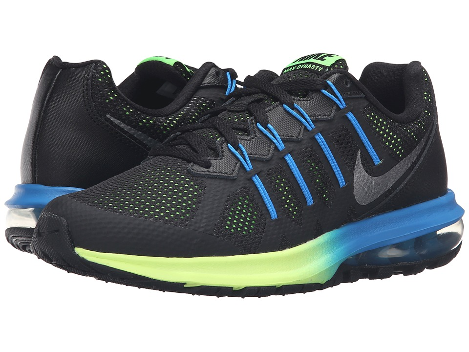 Nike - Air Max Dynasty Premium (Black/Metallic Cool Gray/Electric Green/Photo Blue) Men's Running Shoes