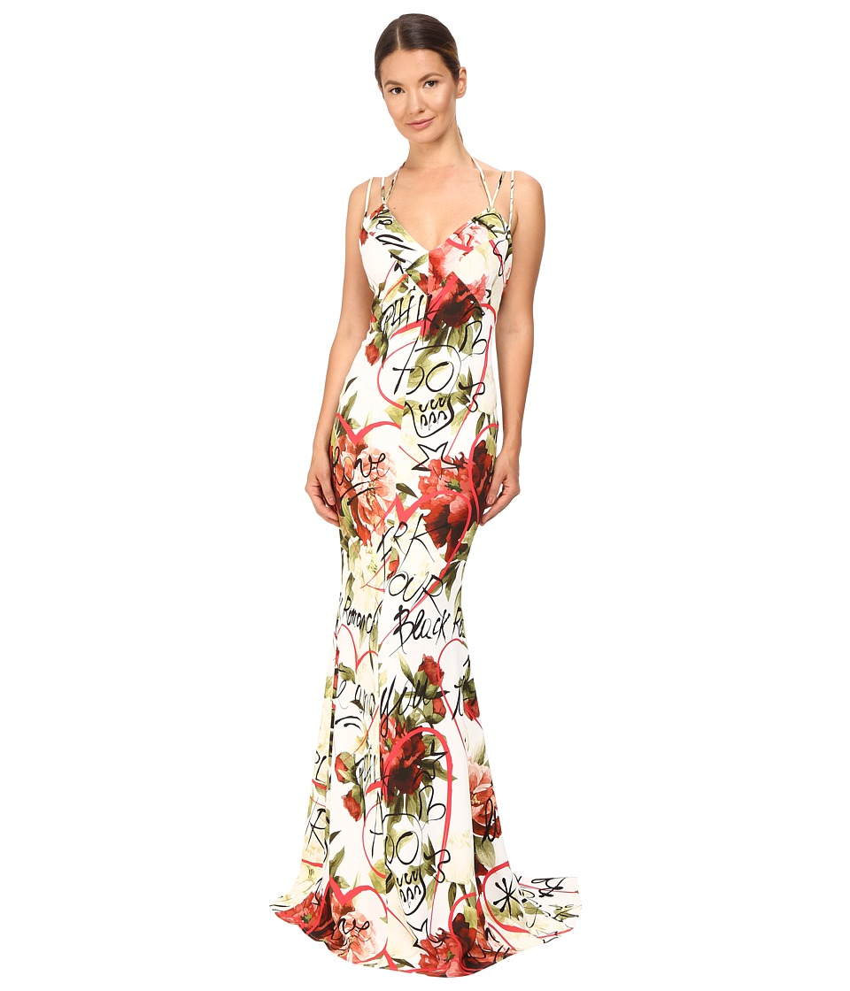 Philipp Plein Floral Sleeveless Long Dress (Black Romance White) Women