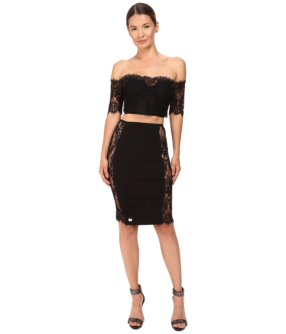 Philipp Plein - Off the Shoulder Open Mid Dress (Black) Women's Dress