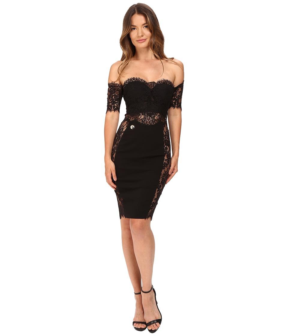 Philipp Plein - Off the Shoulder Placed Lace Dress (Black) Women's Dress