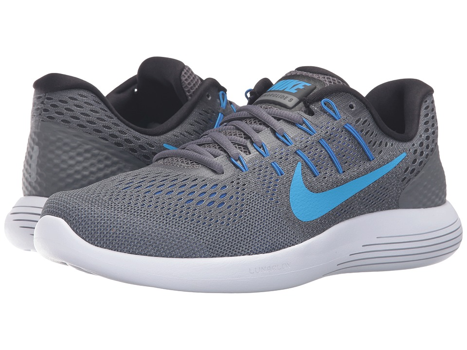 Nike - Lunarglide 8 (Dark Grey/Blue Glow/Black/Blue Gray) Men's Running Shoes