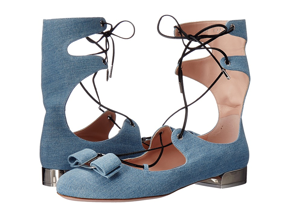 Salvatore Ferragamo Denim Lace Up Closed-Toe Sandal With Vara Bow (Blue Demin/Denim) Women