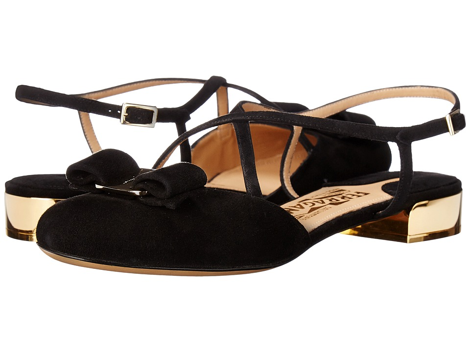 Salvatore Ferragamo - Suede Closed-Toe Sandal (Nero Suede) Women's Flat Shoes