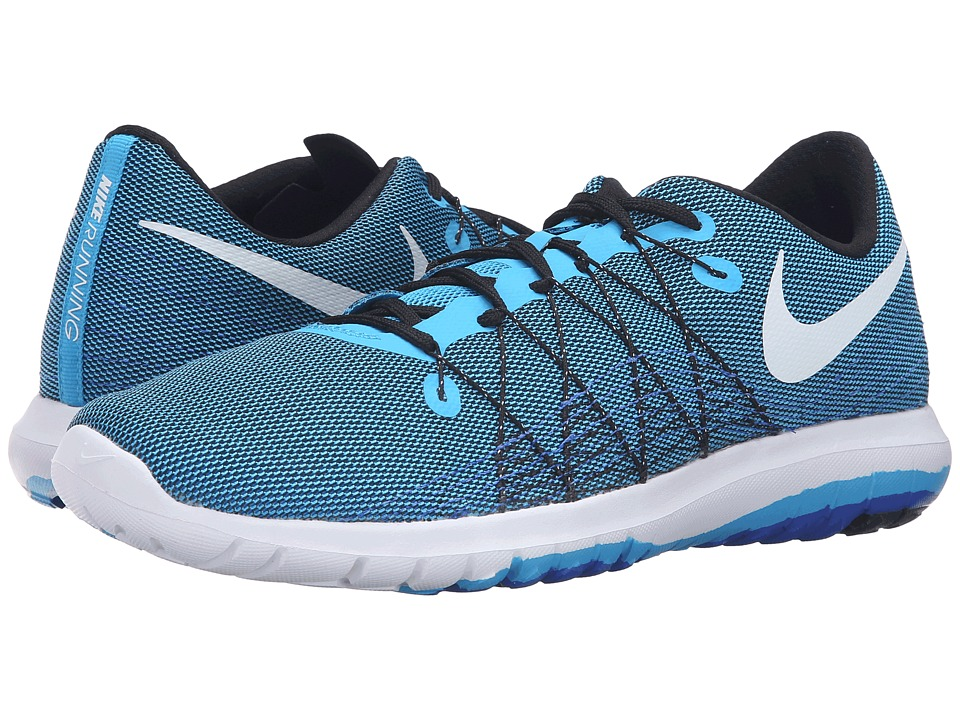 Nike - Flex Fury 2 (Blue Glow/White/Black/Racer Blue) Men's Running Shoes