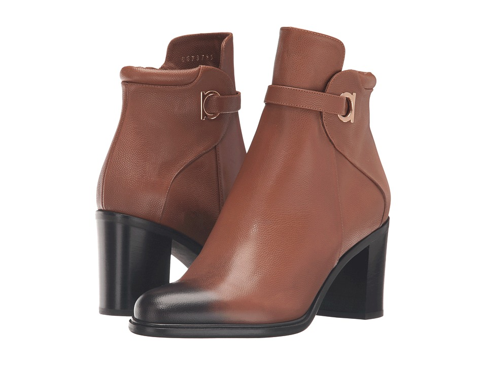 Salvatore Ferragamo Pebbled Leather Bootie with Block Heel (Ecorce Light Pebbled Leather) Women