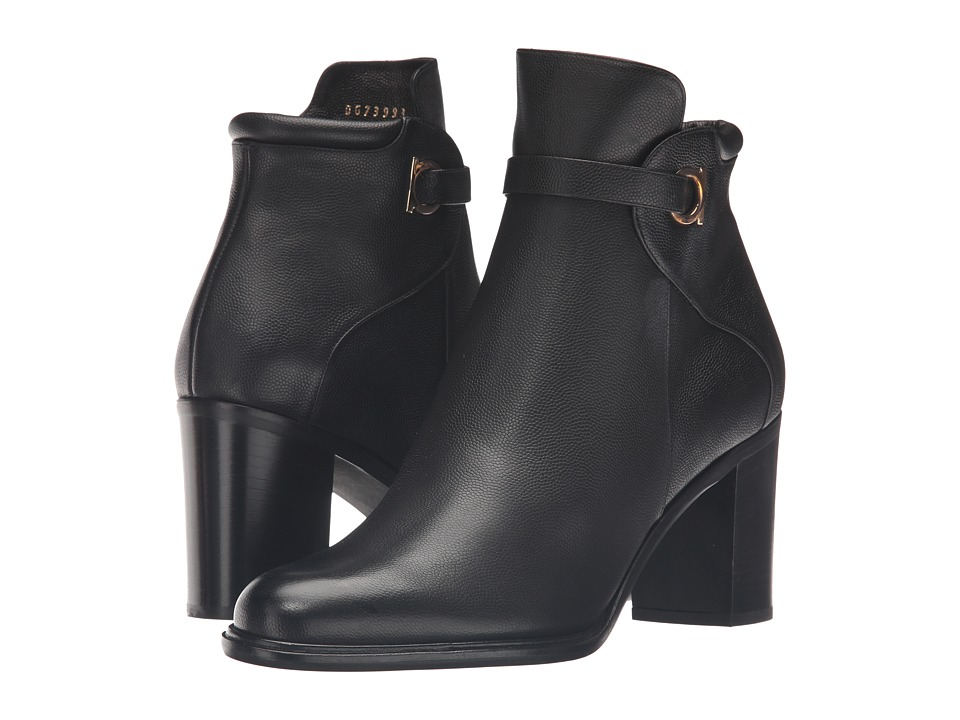 Salvatore Ferragamo Pebbled Leather Bootie with Block Heel (Nero Light Pebbled Leather) Women