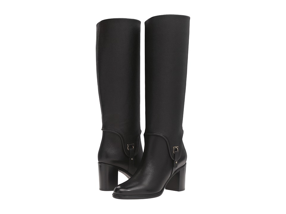 Salvatore Ferragamo - Tall Leather Boot with Block Heel (Nero Light Pebbled Leather) Women's Boots
