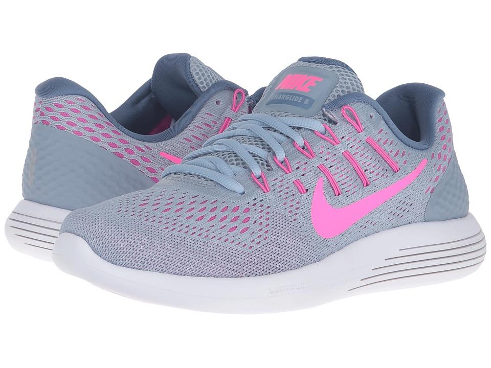 Nike - Lunarglide 8 (Blue Grey/Pink Blast/Blue Tint/Ocean Fog) Women's Running Shoes