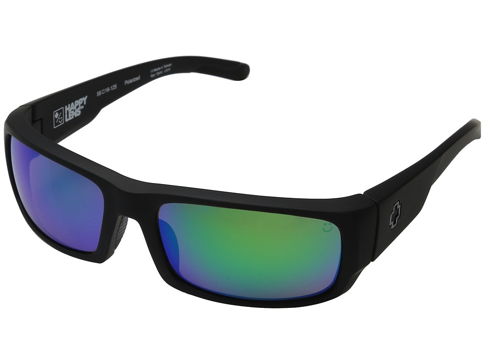 Spy Optic - Caliber (Soft Matte Black/Happy Bronze Polar w/ Green Spectra) Athletic Performance Sport Sunglasses