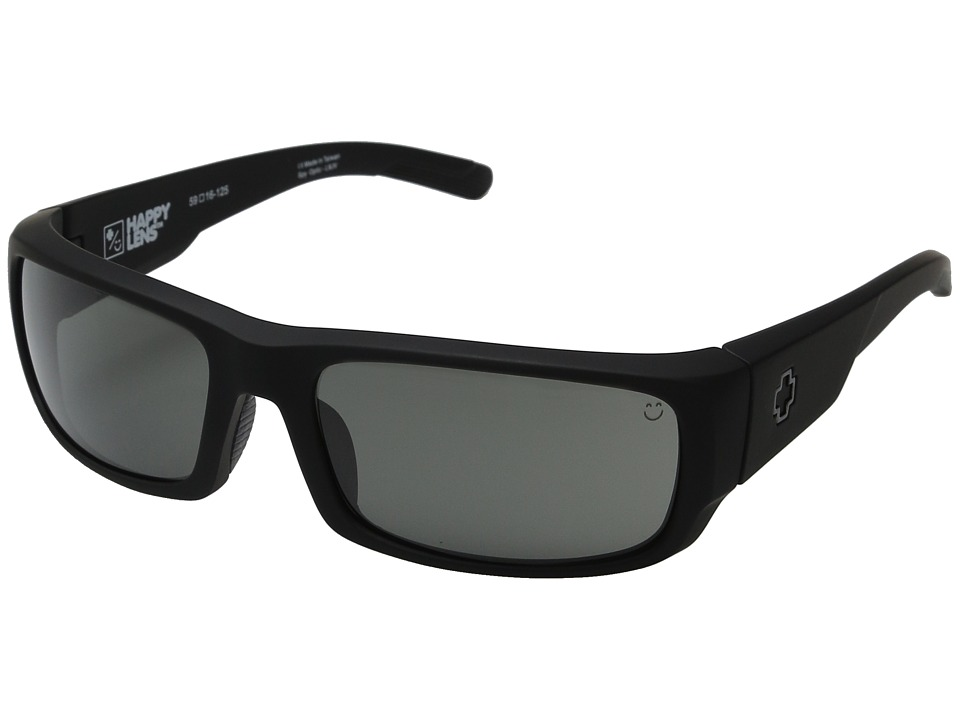 Spy Optic - Caliber (Soft Matte Black/Happy Gray Green) Athletic Performance Sport Sunglasses
