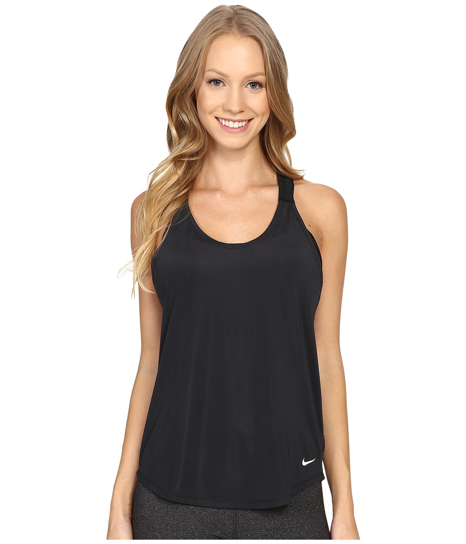 Nike - Elastika Elevate Just Do It Training Tank Top (Black/Black/White) Women's Sleeveless