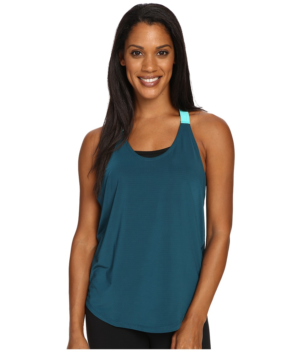 Nike - Elastika Elevate Just Do It Training Tank Top (Midnight Turquoise/Hyper Jade/White) Women's Sleeveless