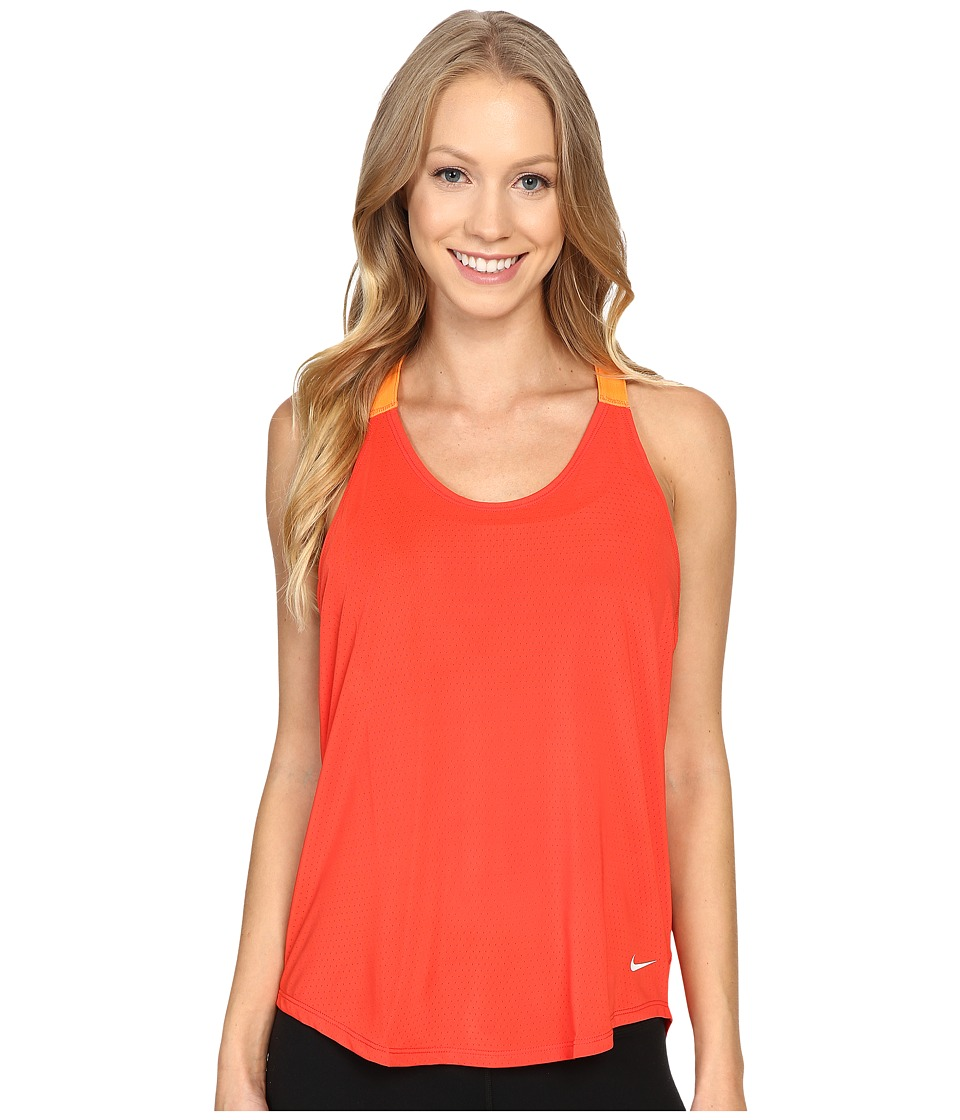 Nike - Elastika Elevate Just Do It Training Tank Top (Light Crimson/Bright Mandarin/White) Women's Sleeveless