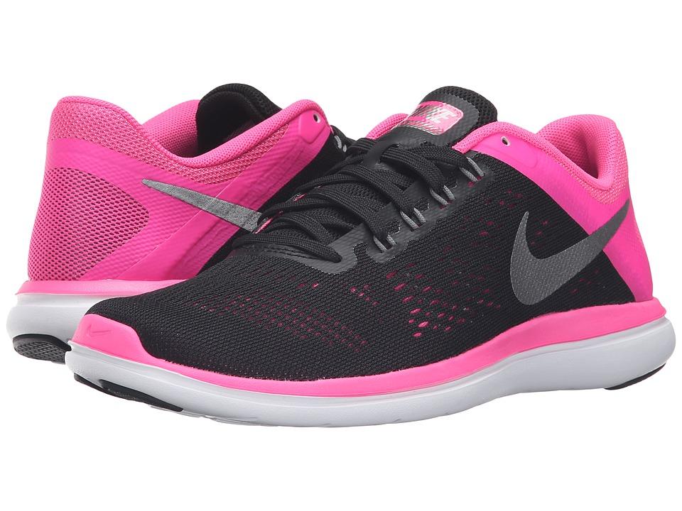 Nike - Flex 2016 RN (Black/Metallic Cool Gray/Pink Blast/White) Women's Running Shoes