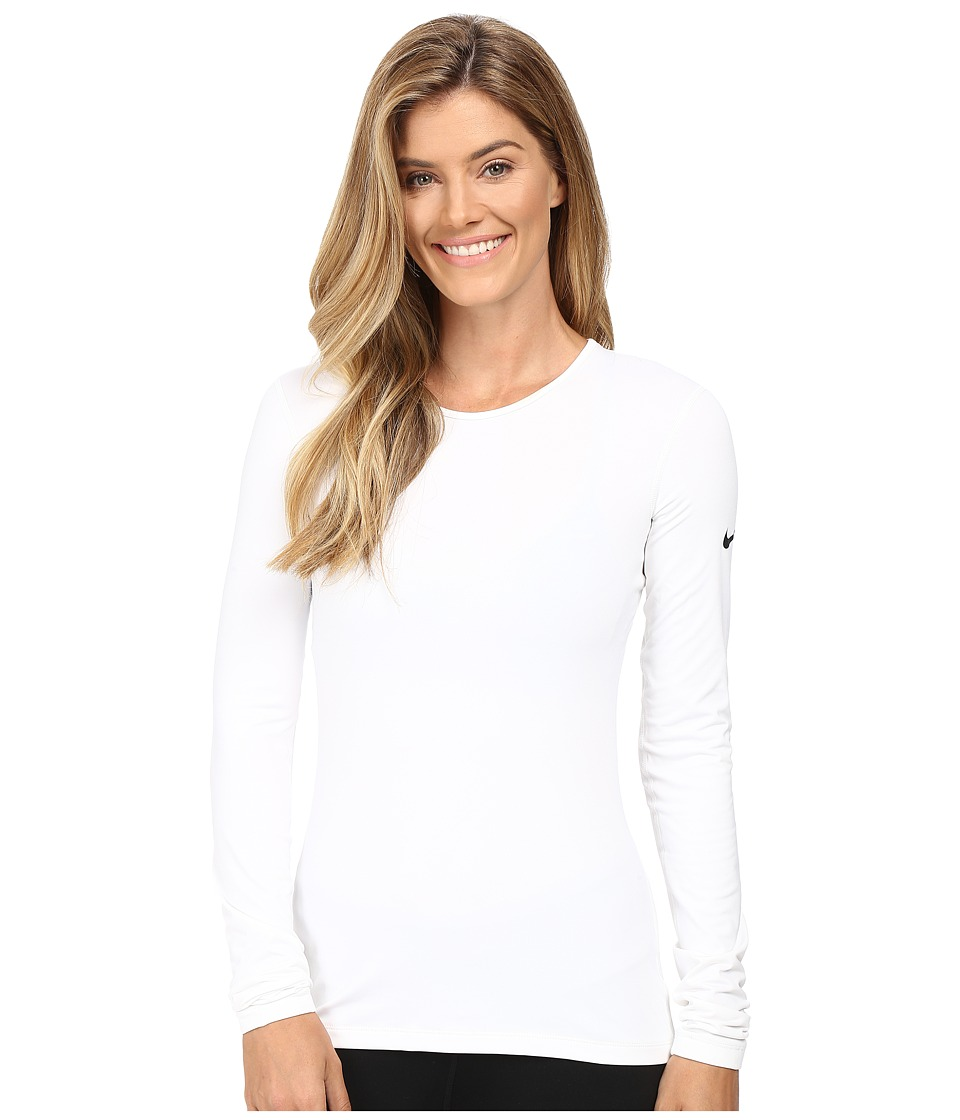 Nike - Pro Warm Long Sleeve Training Top (White/Black) Women's Clothing