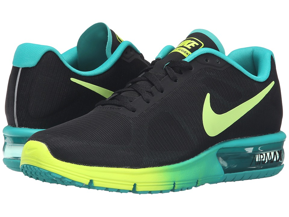 Nike - Air Max Sequent (Black/Volt/Clear Jade) Women's Running Shoes