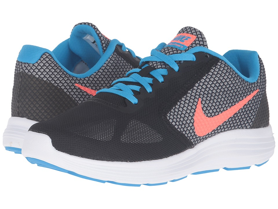 Nike - Revolution 3 (Black/Bright Mango/Metallic Silver/Blue Glow) Women's Running Shoes