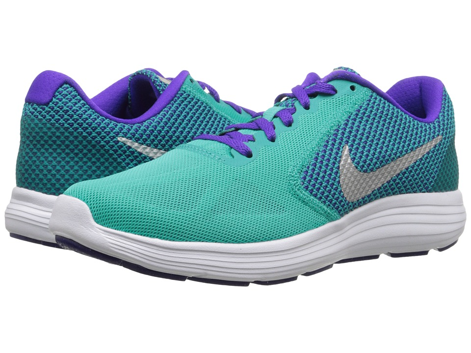 Nike - Revolution 3 (Clear Jade/Metallic Silver/Fierce Purple/Green) Women's Running Shoes