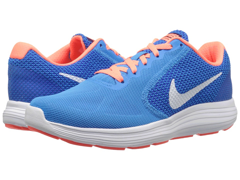 Nike - Revolution 3 (Blue Glow/White/Racer Blue/Bright Mango) Women's Running Shoes