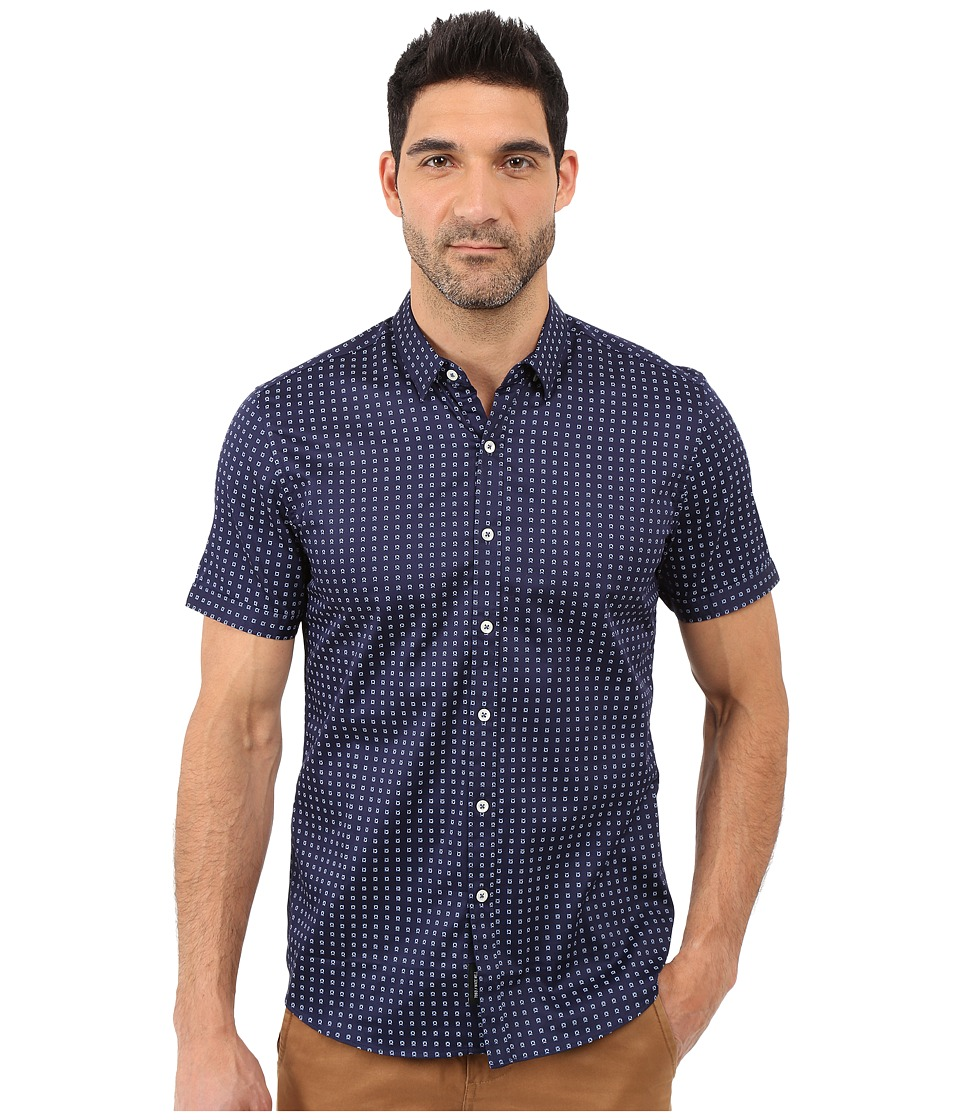 7 Diamonds - Misty Morning Short Sleeve Shirt (Blue) Men's Short Sleeve Button Up