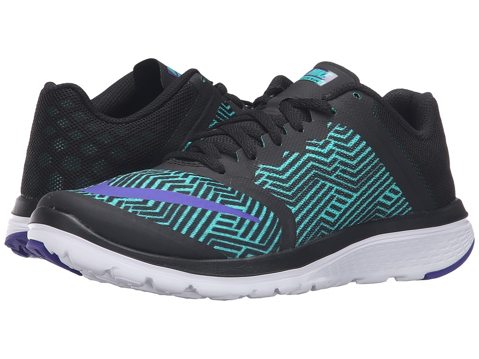 Nike - FS Lite Run 3 Premium (Black/Fierce Purple/Clear Jade/White) Women's Running Shoes