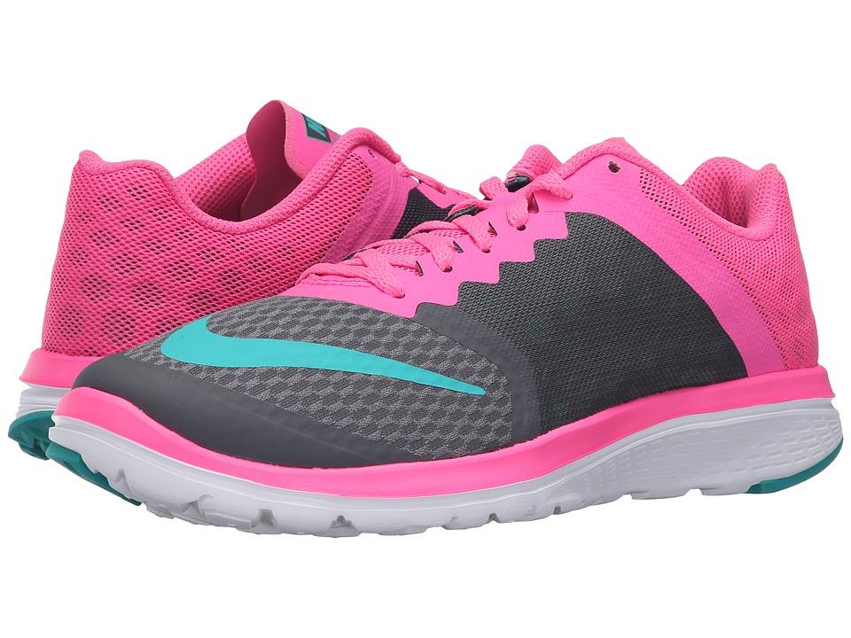Nike - FS Lite Run 3 (Dark Grey/Clear Jade/Pink Blast/White) Women's Running Shoes