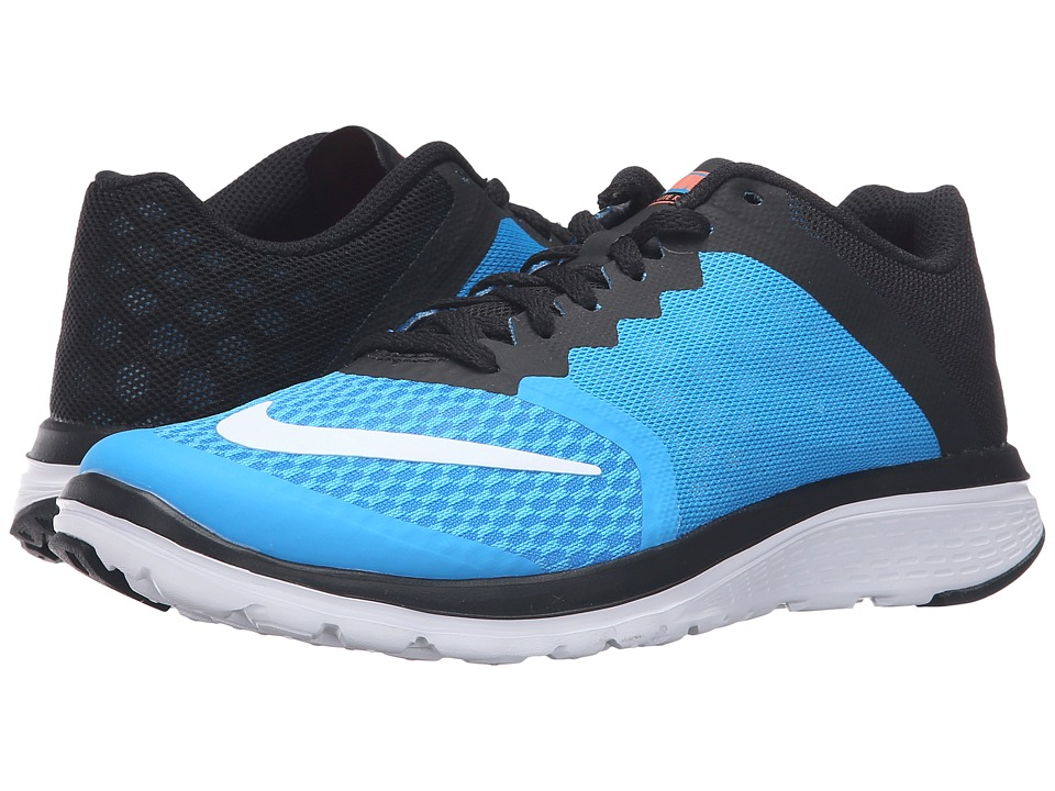 Nike - FS Lite Run 3 (Blue Glow/White/Black/Bright Mango) Women's Running Shoes