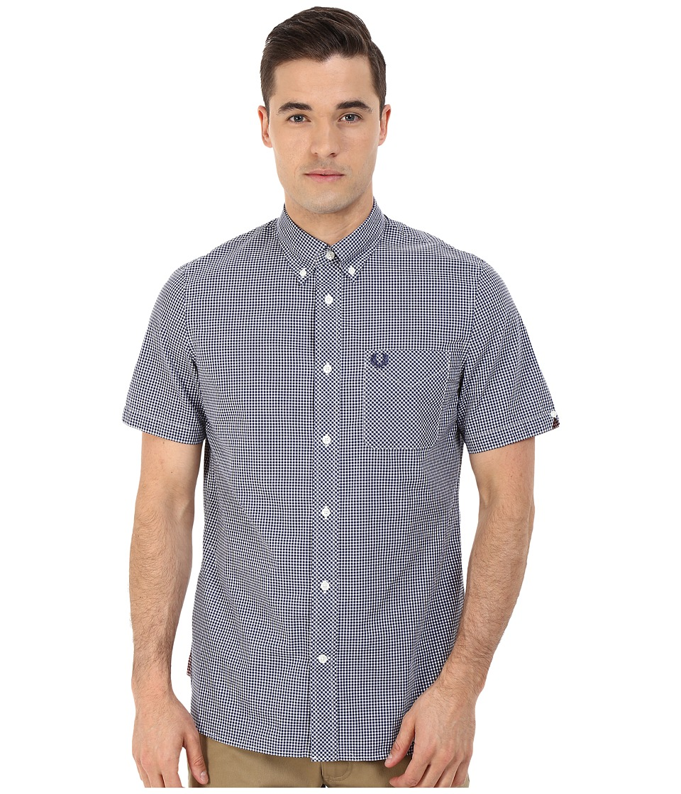 Fred Perry - Classic Gingham Shirt (Medieval Blue Core) Men's Clothing