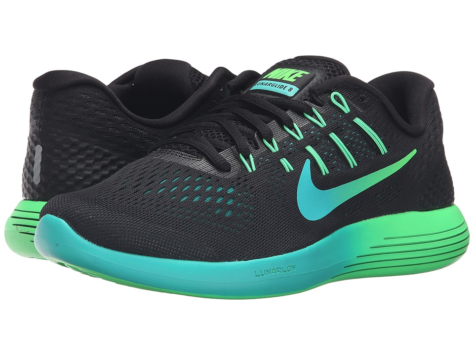 Nike - Lunarglide 8 (Black/Multicolor/Real Teal/Clear Jade) Women's Running Shoes