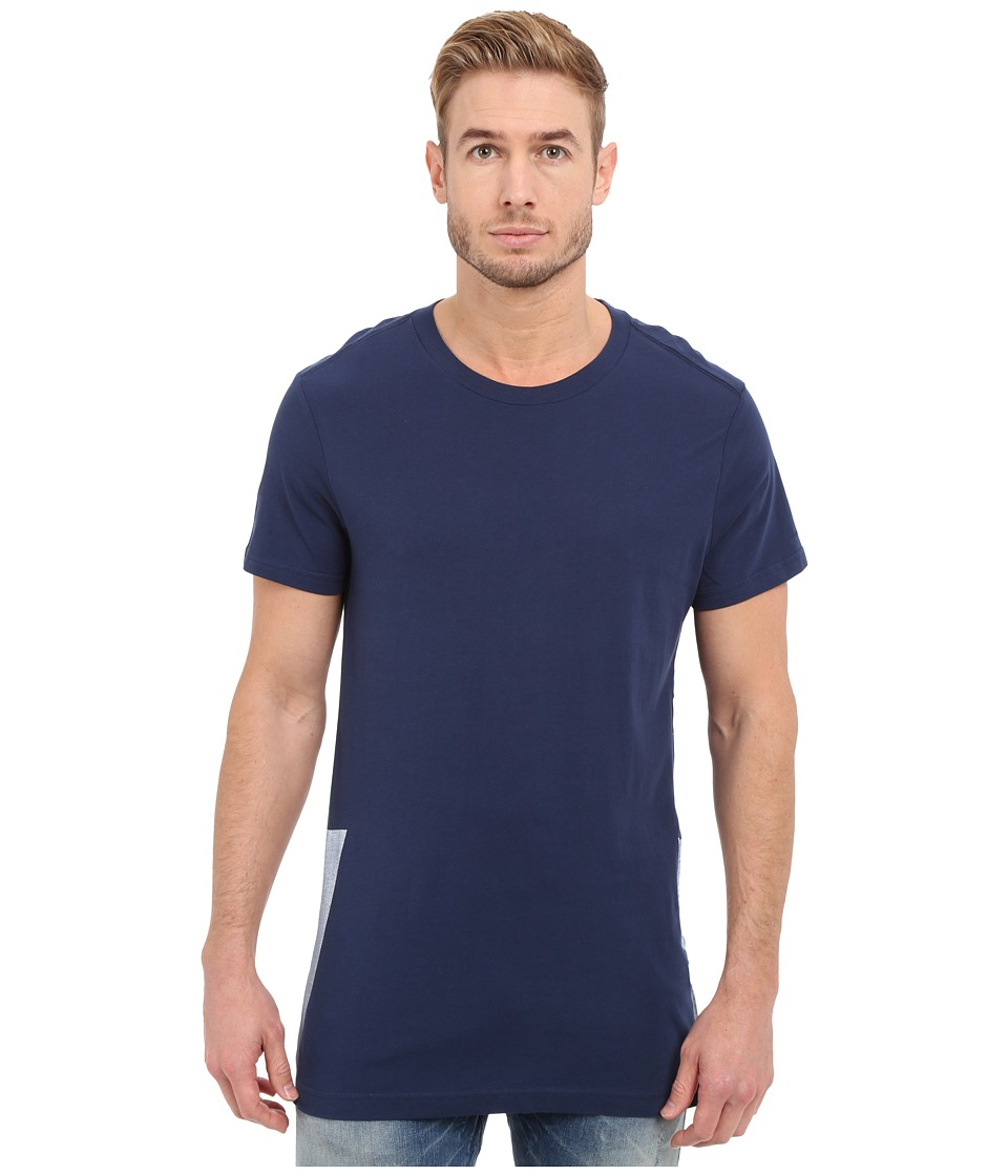 G-Star - Rimler Crew Neck Short Sleeve Long Tee in Compact Jersey (Sapphire Blue) Men's T Shirt