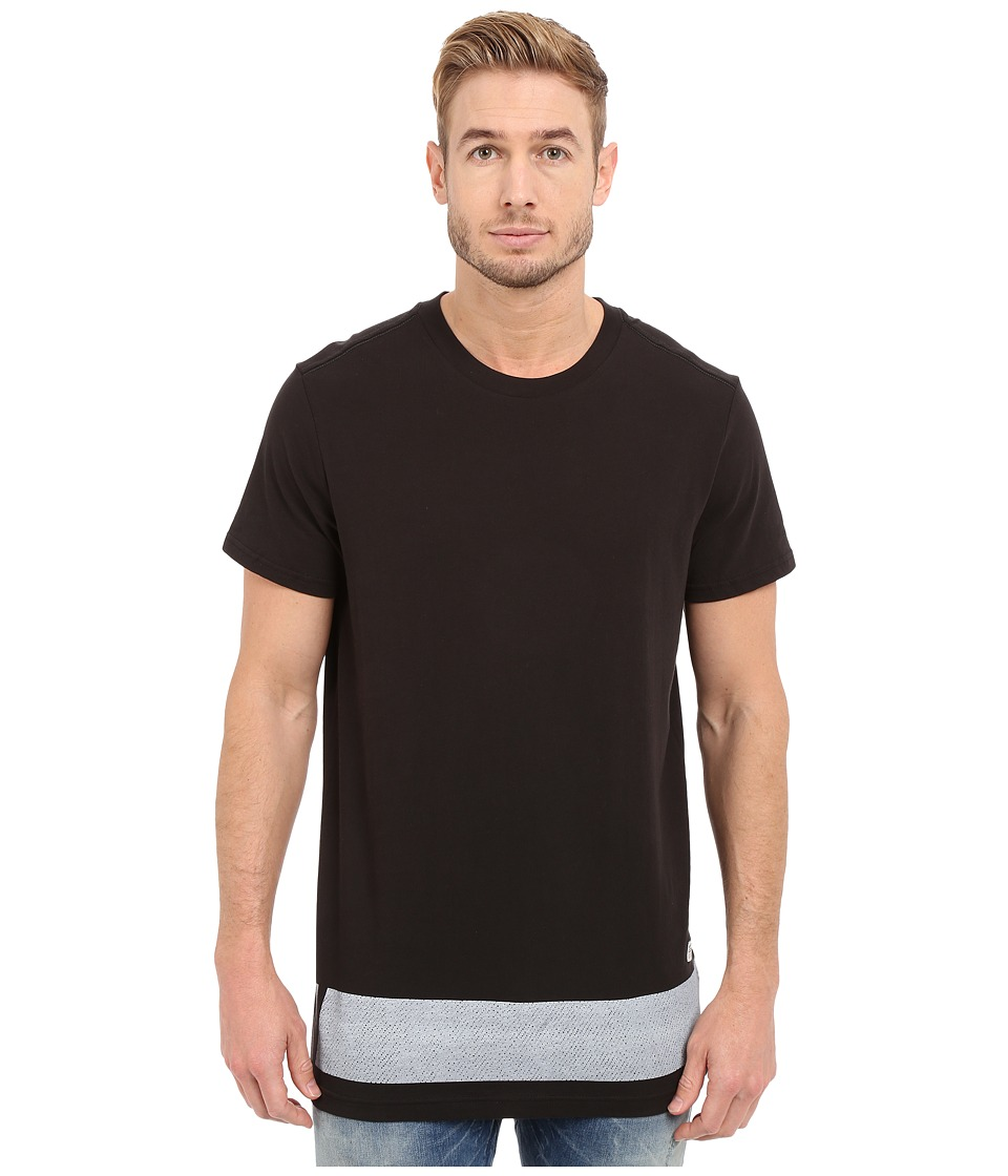 G-Star - Stonum Short Sleeve Crew Neck Long Tee in Compact Jersey (Black) Men's T Shirt