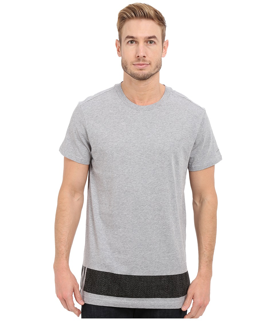 G-Star - Stonum Short Sleeve Crew Neck Long Tee in Compact Jersey (Grey Heather) Men's T Shirt
