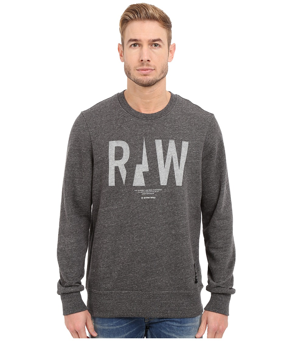 G-Star - Rightrege Crew Neck Sweatshirt in Premium Sherland Sweat (Black Heather) Men's Sweatshirt