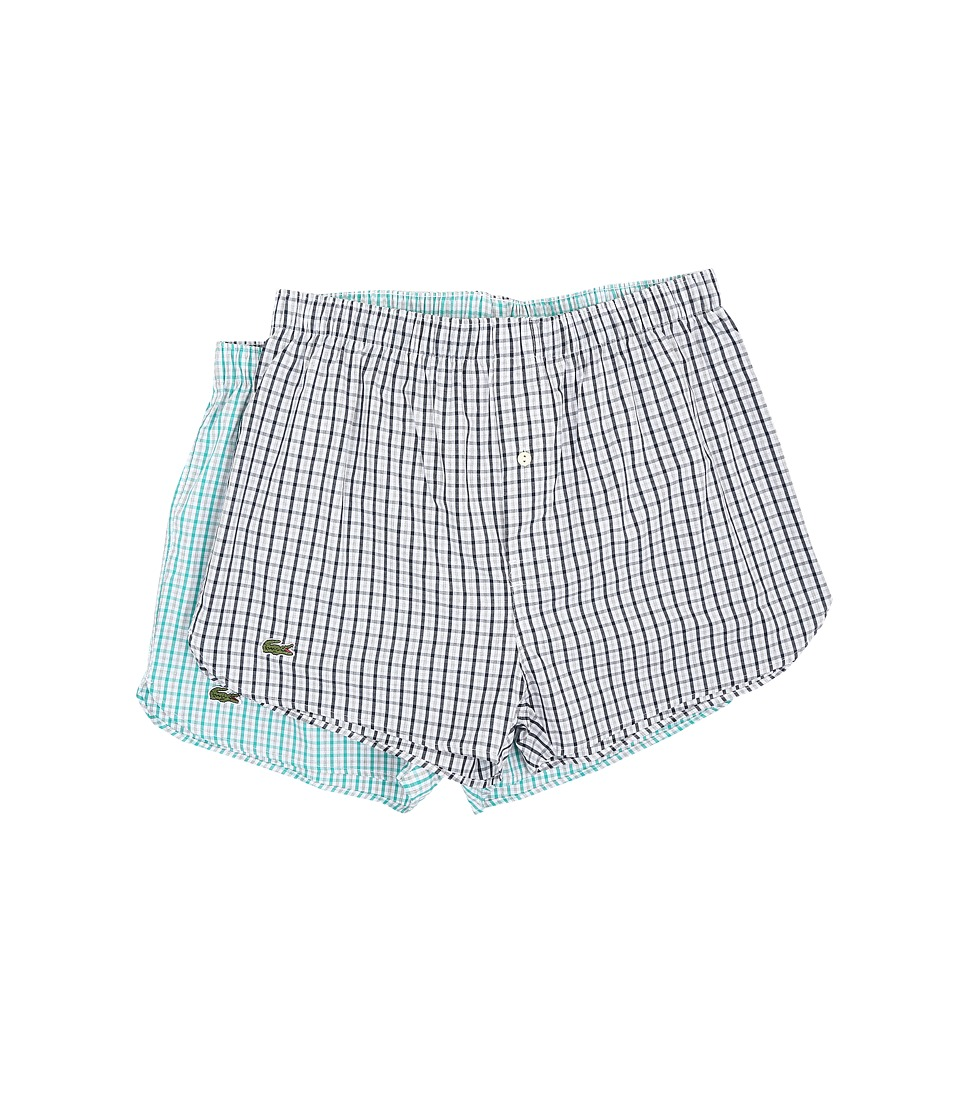 Lacoste - Gingham Heather Boxer 2-Pack (Blue/Green) Men's Underwear