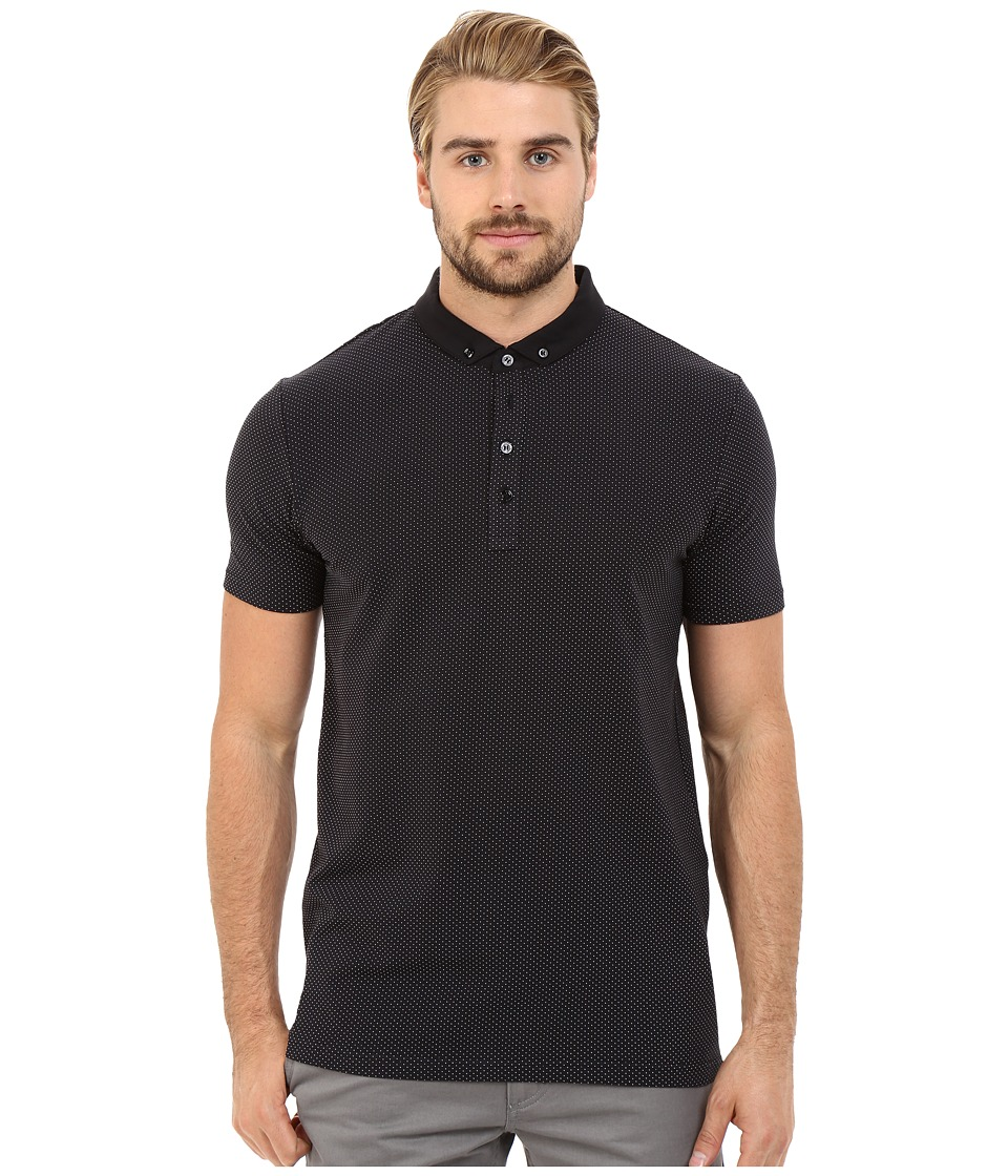 HUGO - Diowa - Mesh Print Polo (Black) Men's Clothing
