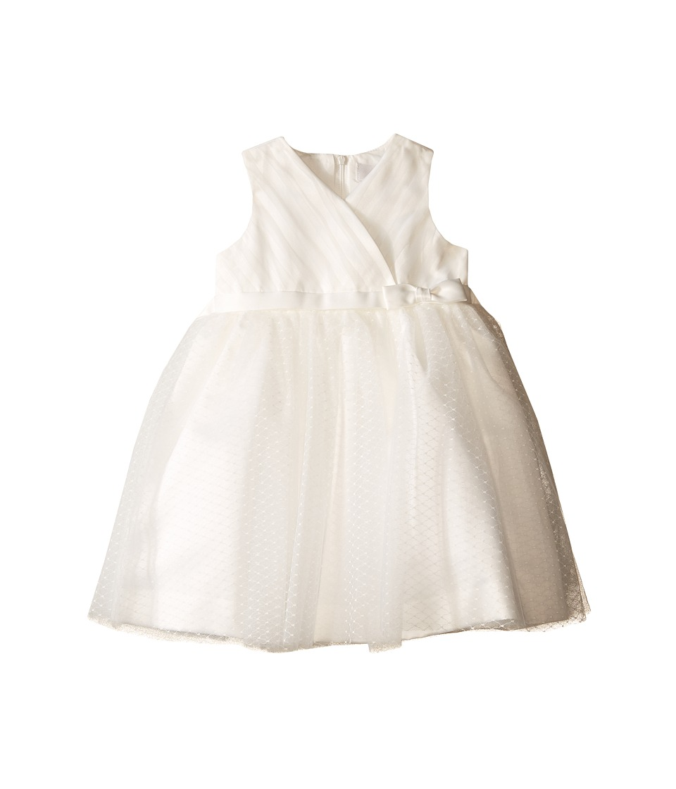 Us Angels - Satin Point d' Espirit Sleeveless Pleated Bodice Full Skirt (Infant) (Ivory) Girl's Dress